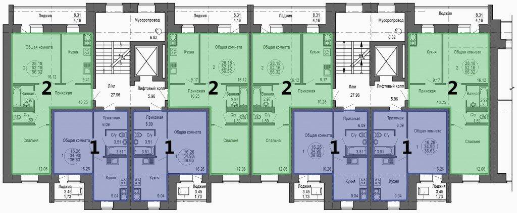 Ползунова 2-9 этаж 6,7 подъезд